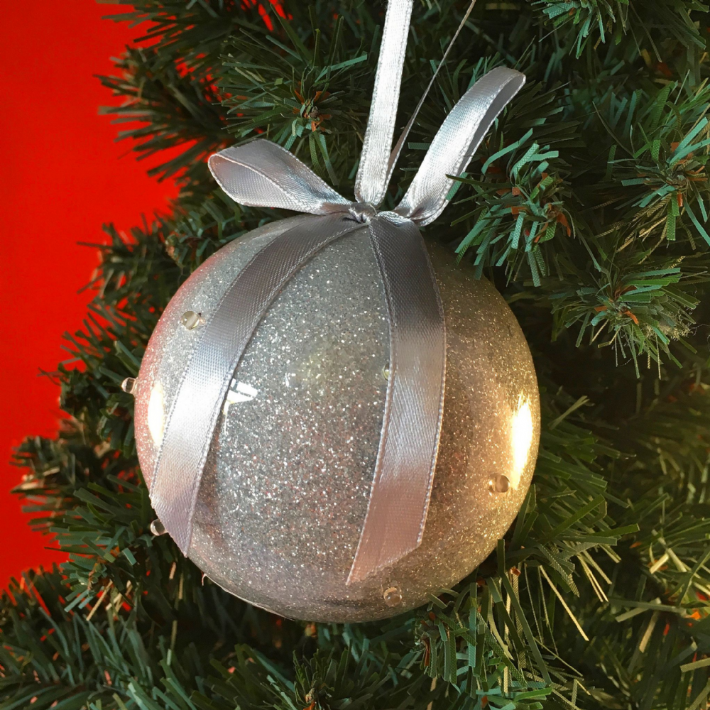 Bauble - Silver with LED Lights - Personalised